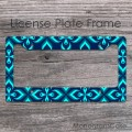 Neon blue teal  floral license plate frame
